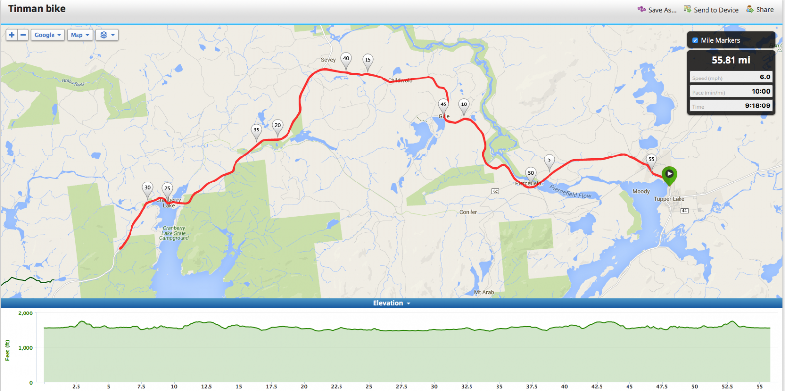 Tupper Lake Tinman Bike Course