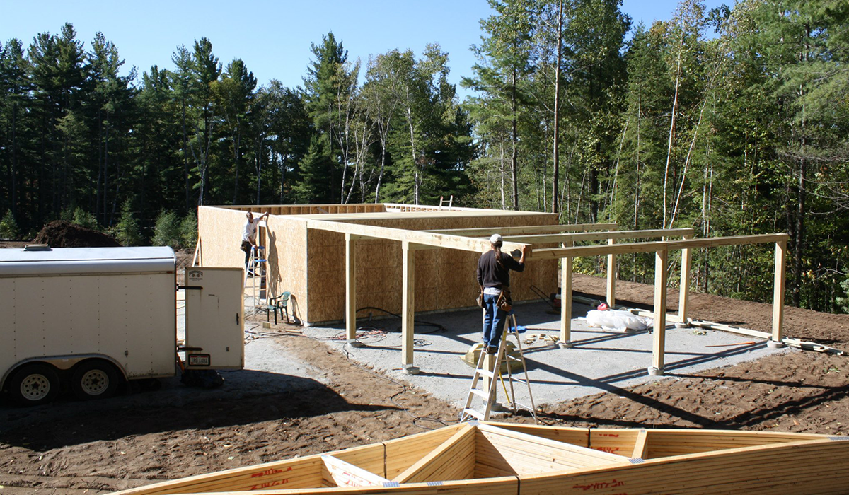 The crew from Backyard Observatories out of Ohio work on building the roll-off-roof facility (APO Photo)