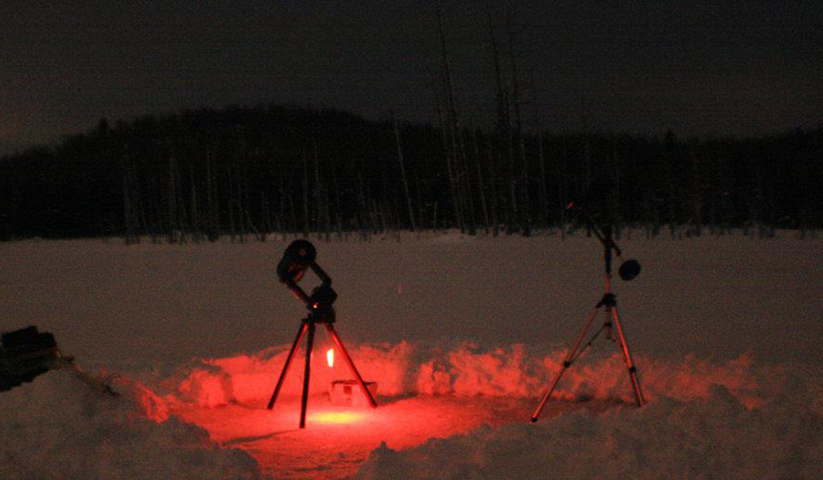 Telescopes on Cranberry Pond are focused and ready for a great night of Skiing with the Stars. (Marc Staves photo)