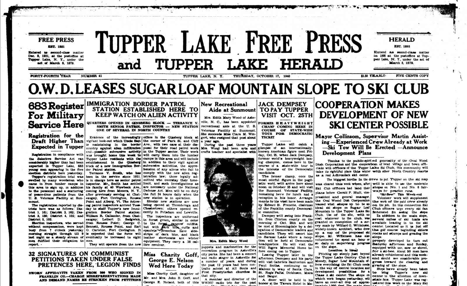 Front page of The Tupper Lake Free Press & Tupper Lake Herald (October 17, 1940)