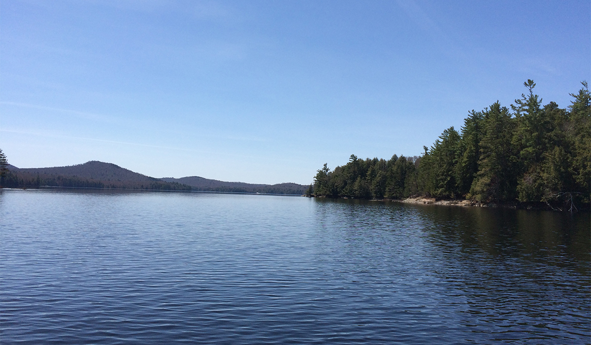 View from our fishing boat on Big Tupper Lake