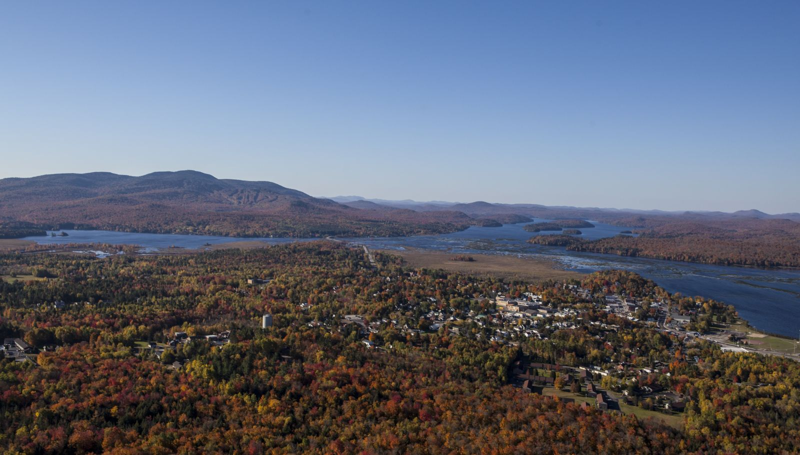 Fall aerial view of Tupper Lake