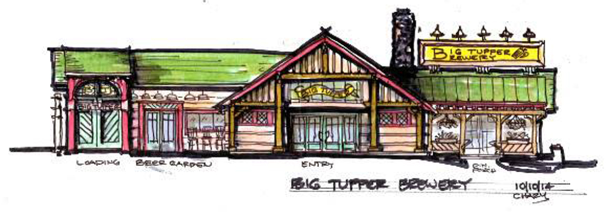 Architectural rendering of the new Big Tupper Brewing Brew Pub
