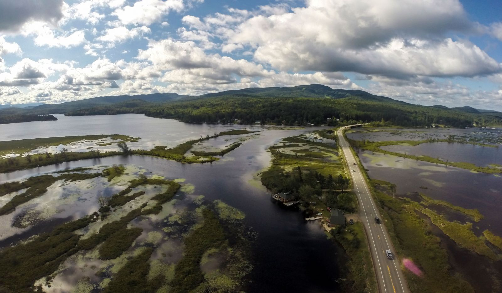 A birds eye view of Big Tupper Lake, Moody Marsh & Simon Pond.