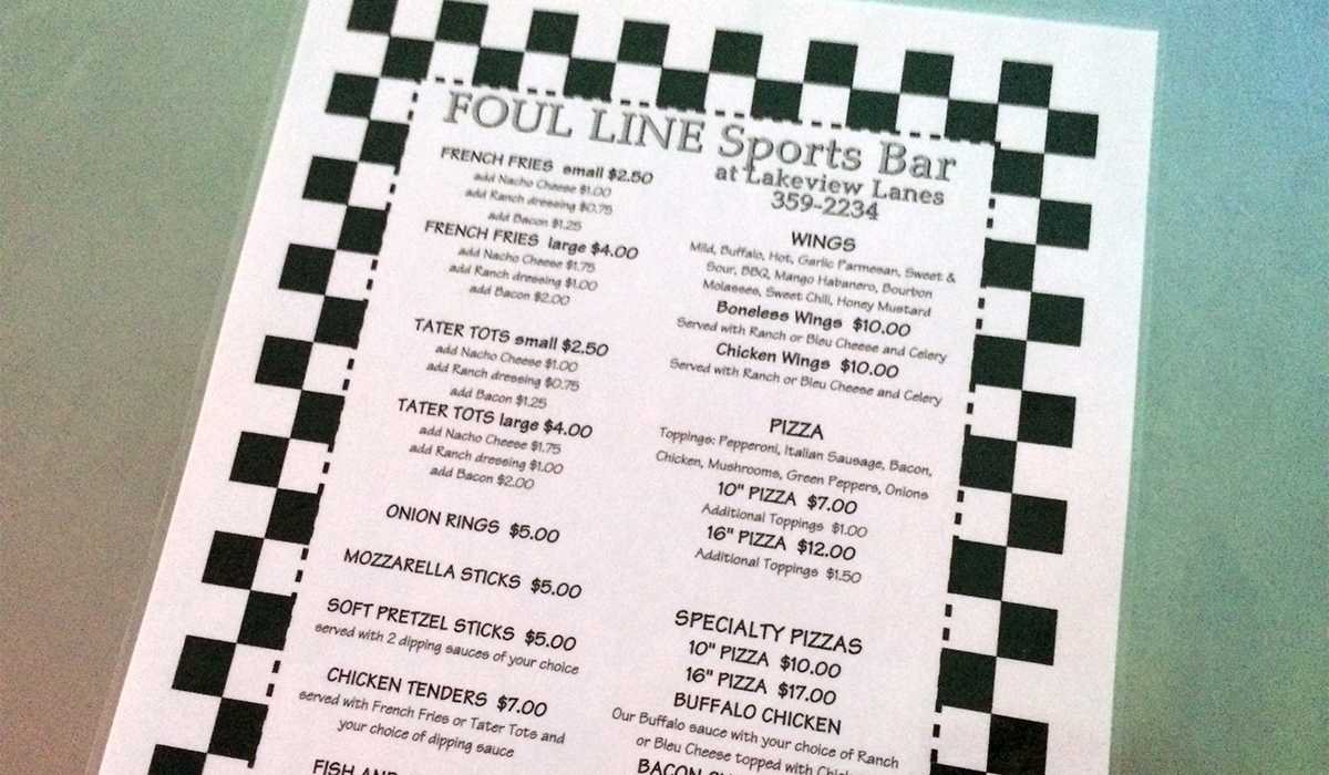 New Foul Line Sports Bar Menu