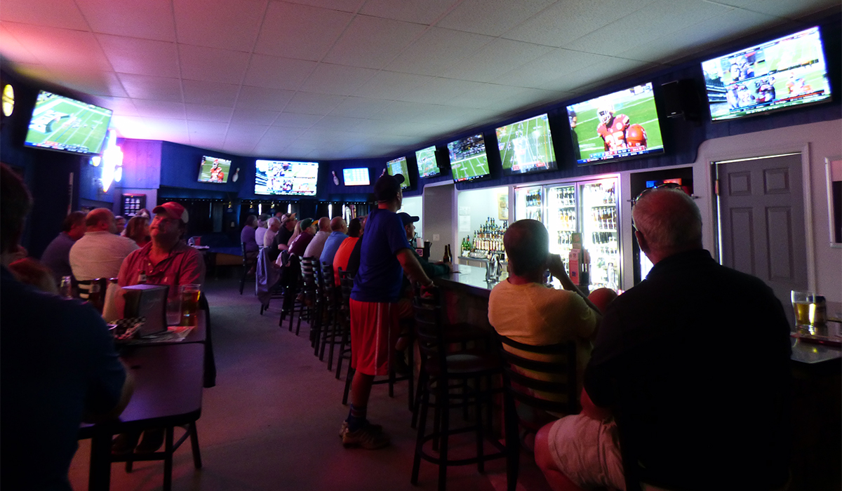 Crowds Fill the Foul Line Sports Bar at Lakeview Lanes on opening weekend.