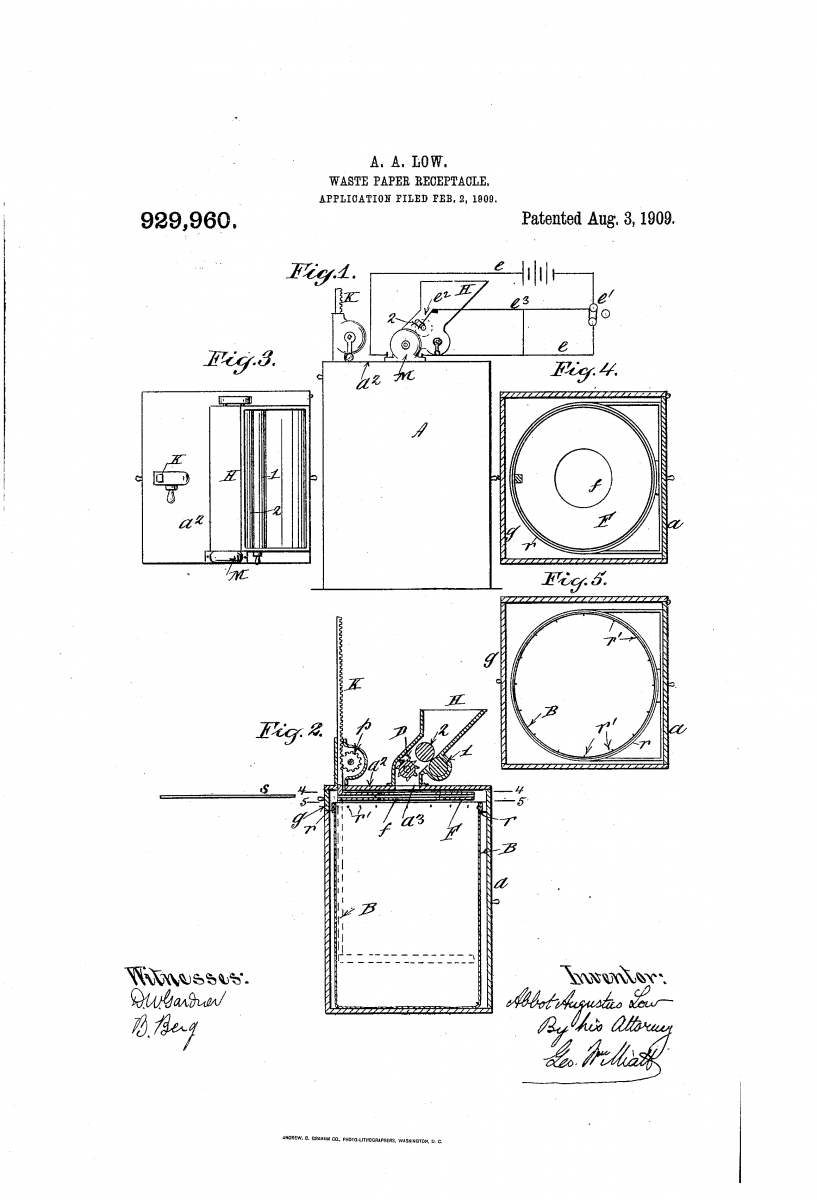 A. A. Low Patent No. 929,960 - the first known paper shredder.