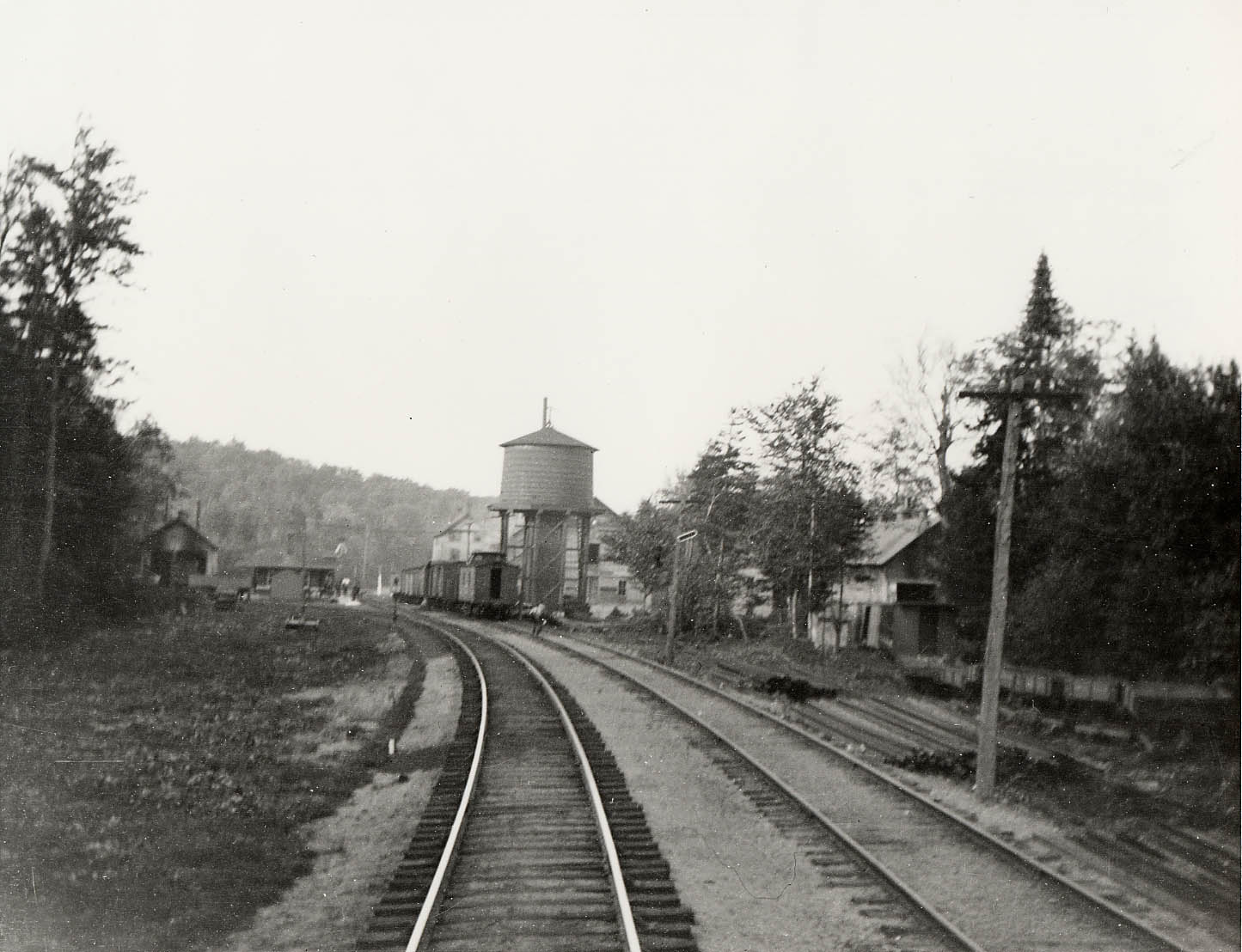 Horseshoe Lake Railroad Station (c. 1900). The image looks north towards the Horseshoe Lake Train Station (left). The building furthest to the left is the two-stall engine house for the Maple Valley RR owned by A.A. Low. On the right are the mill buildings for the Wake Robin RR also owned by Low. (Photo from the Adirondack Museum Collection)