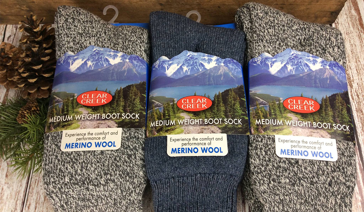 Merino wool socks in stock at Spruce & Hemlock Country Store on Lake Street in Tupper Lake.