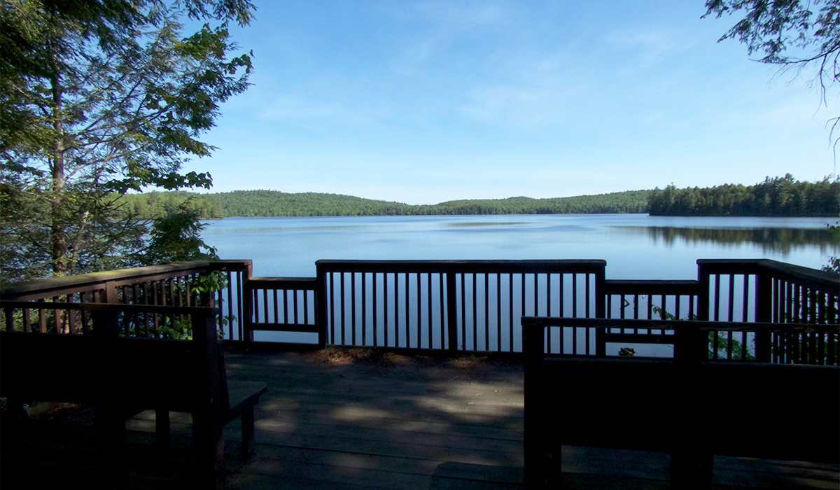 The fishing overlook at Horseshoe Pond is just one of the many great spots to sit at Horseshoe Pond