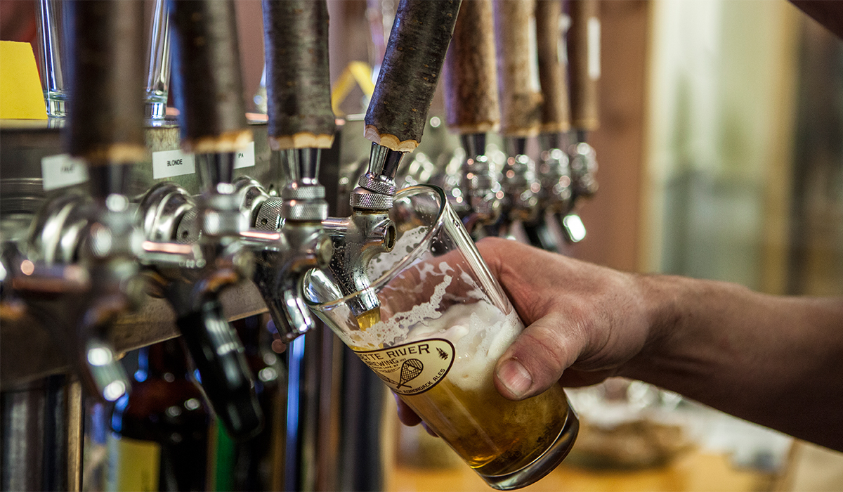 Nothing like a pint of fresh beer right off the tap at Raquette River Brewing in Tupper Lake .(ROOST/Shaun Ondak photo)