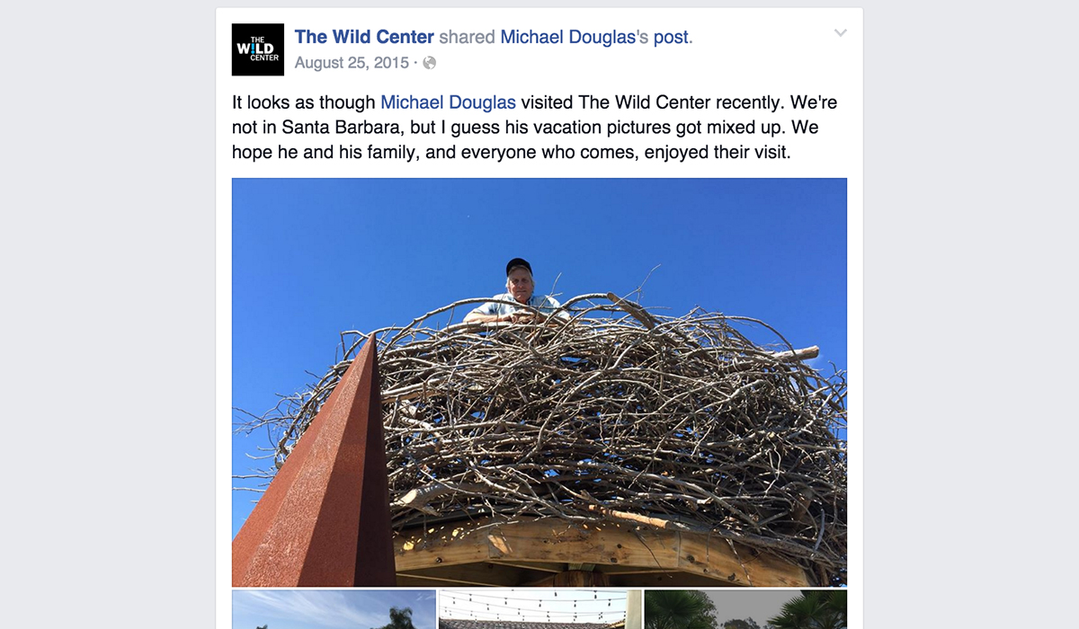 The Wild Center's Facebook post from August 2015 showing actor, Michael Douglas, enjoying the view from eagles nest on the newly opened Wild Walk.