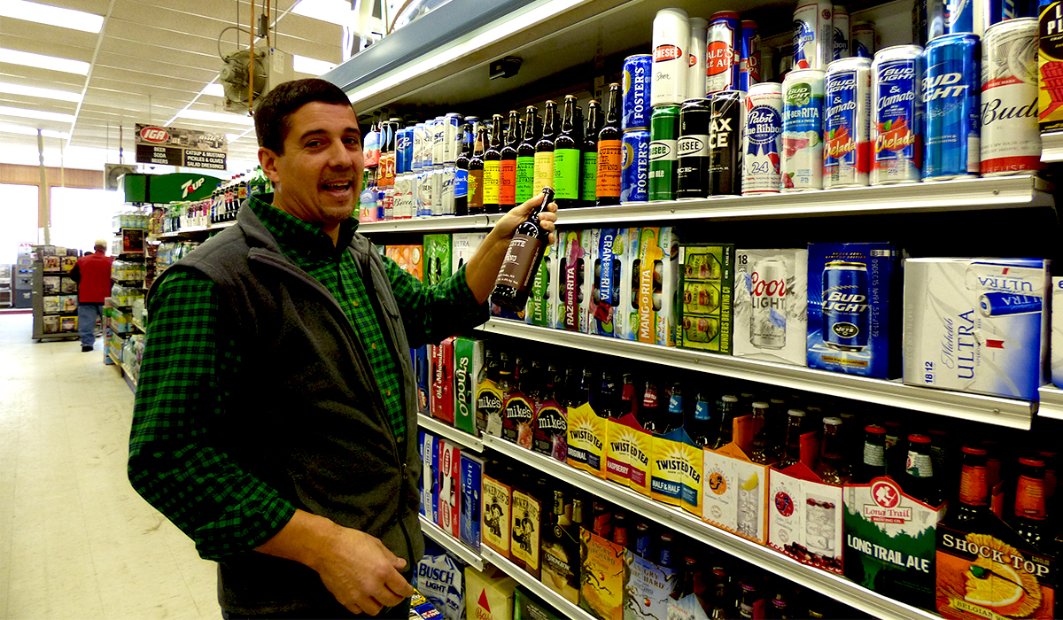 Paul Shaheen found blocking the beer shelf! Thanks for recommending the Raquette River Brewing's Stout... it is one of my favorites.