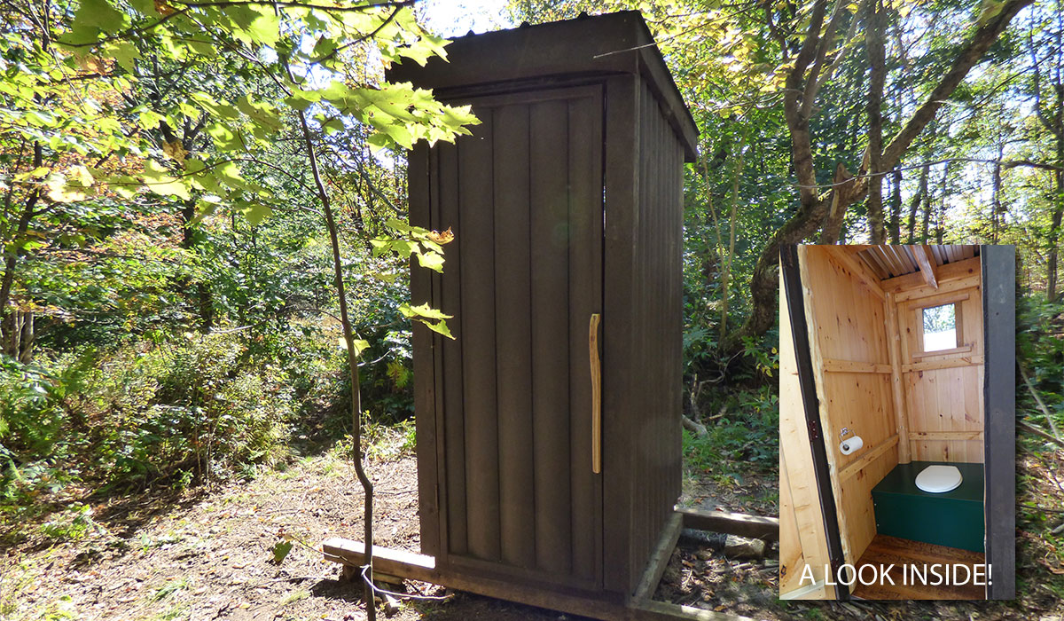 One if not the cleanest outhouses you'll ever find, thanks to the Friends of Mt. Arab. Kudos!