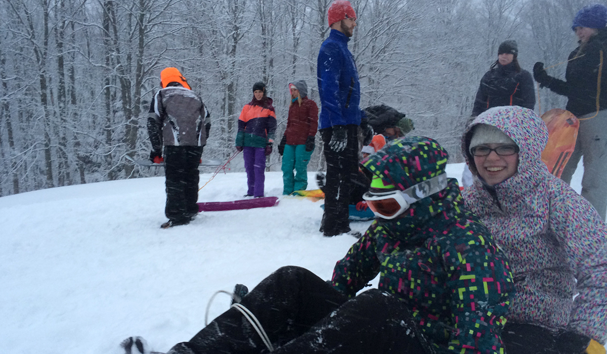 Sledding fun at the Tupper Lake Golf Course.