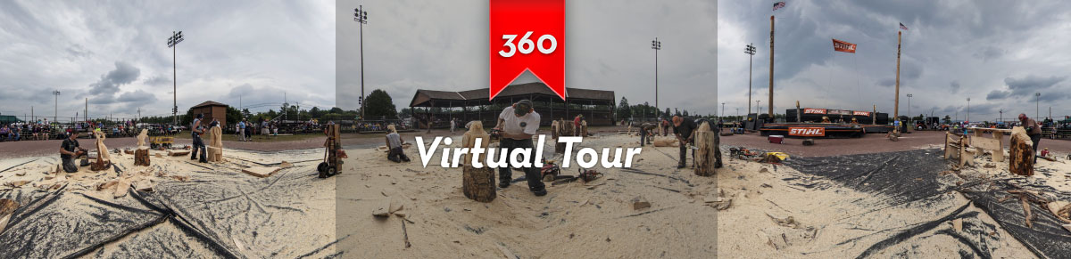 Take a 360-degree virtual tour of the 2014 Tupper Lake Woodsmen's Day carving competion