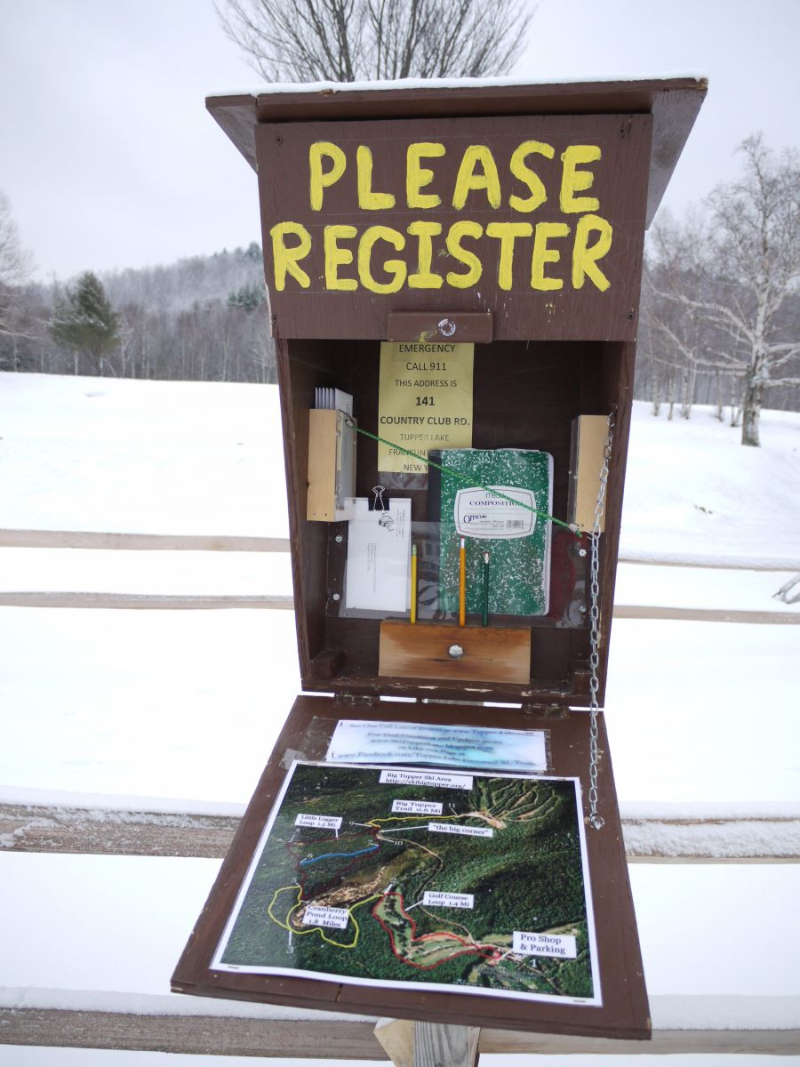The sign-in register located near the Pro Shop. Take a minute to check in before you head out on the trails to help the trail crew keep track of the number of people enjoying the trails each season.