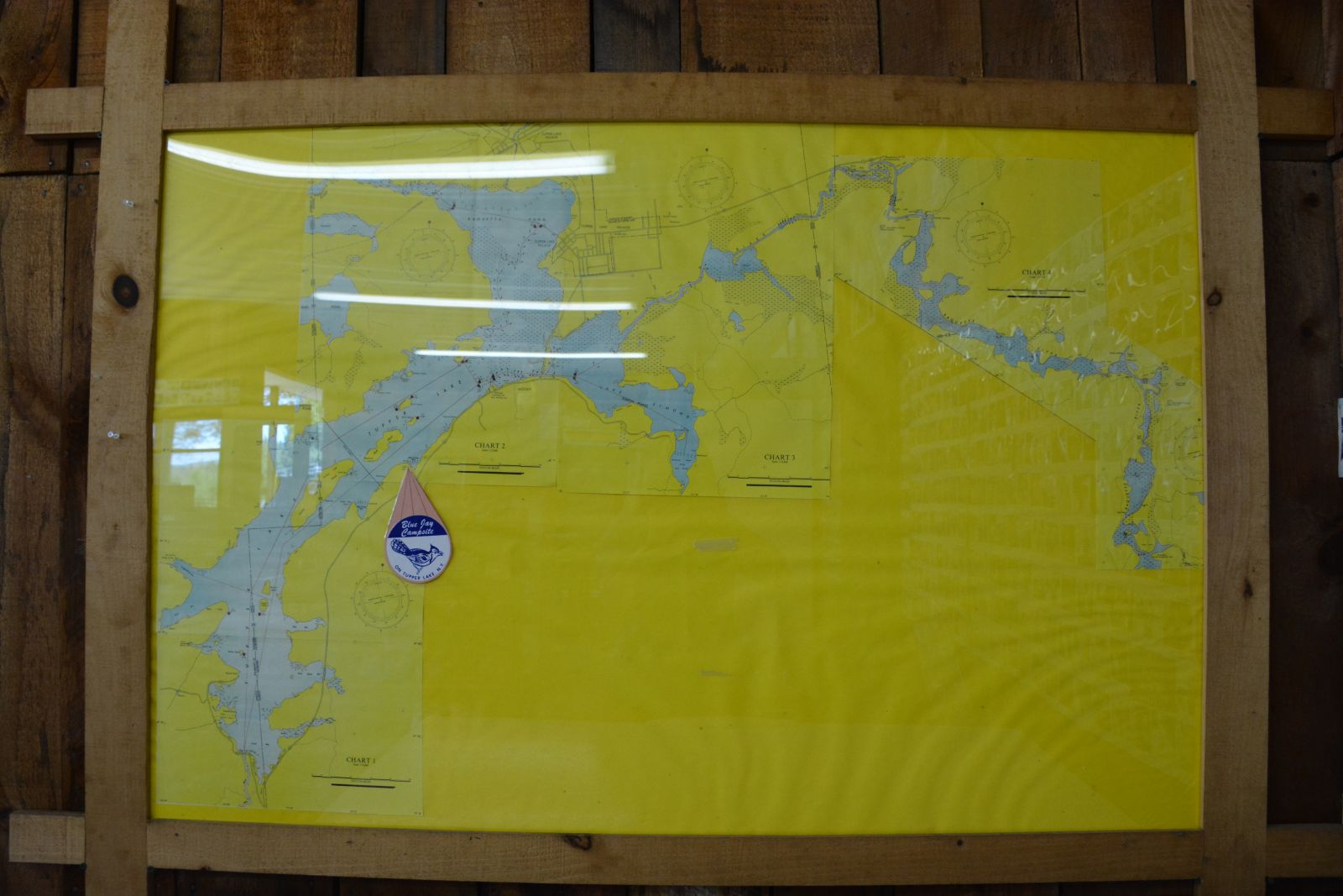 A map inside the Blue Jay store identifies where the campground is located on the lake.