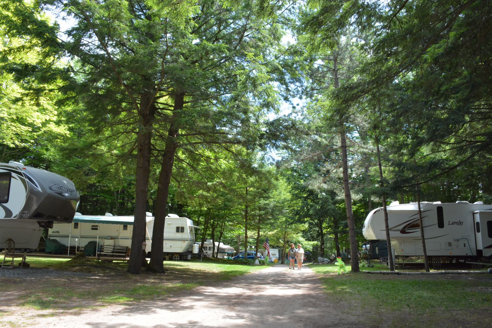 Campers take a stroll around the campground.