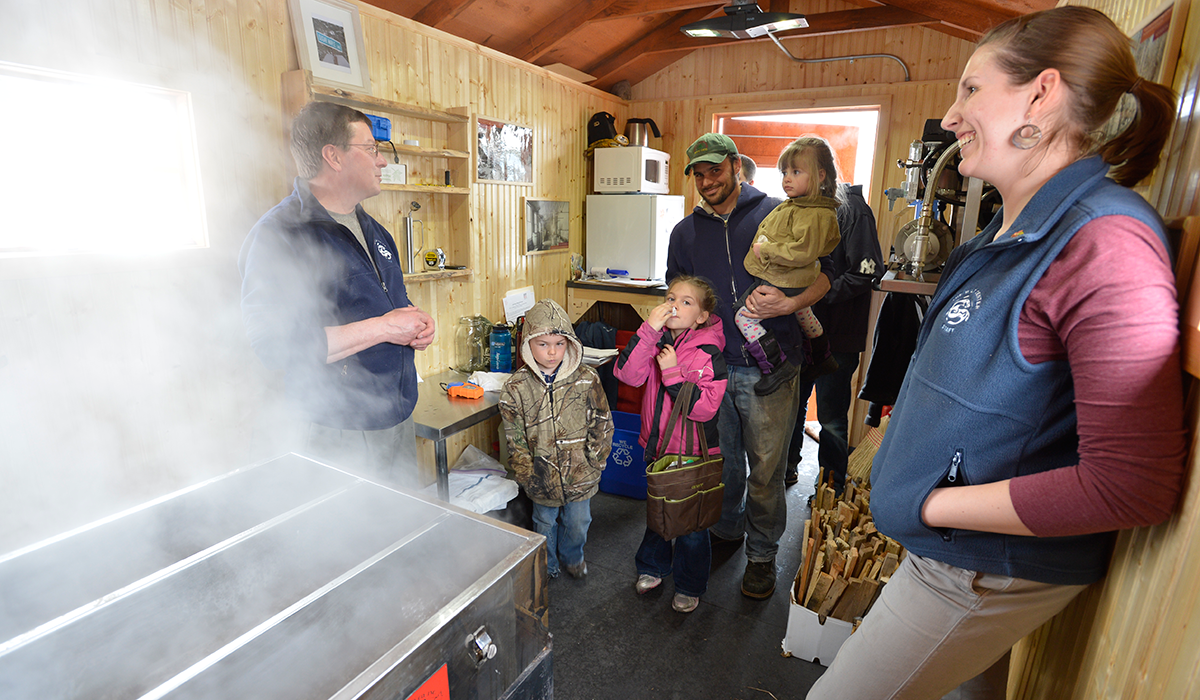 Visitors can watch maple syrup being made in The Wild Center's Sugar Shack (Wild Center Photo)