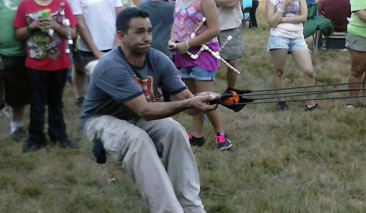 How far will it go? Test your skill on the pumpkin slingshot (Tupper Lake Chamber of Commerce photo)