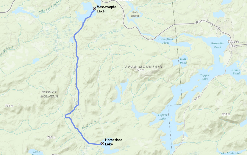 Our route from Massawepie Lake to Horseshoe Lake in Piercefield, NY