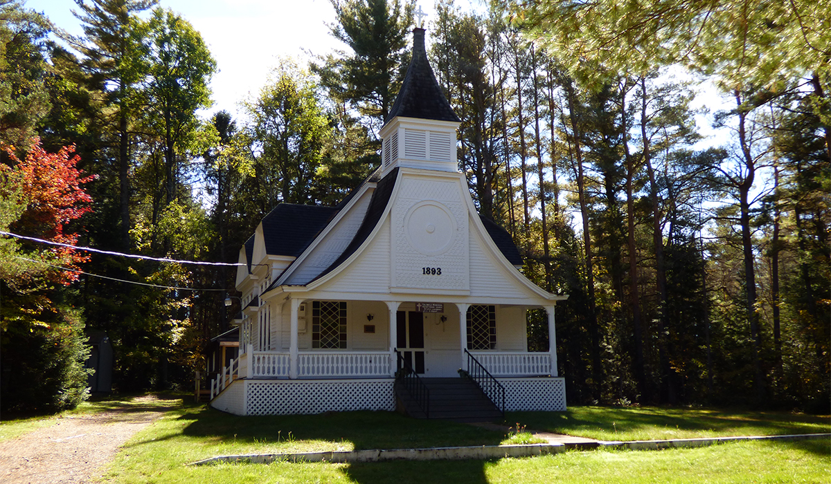The Childwold Memorial Presbyterian Church on Bancroft Road in Childwold, NY.