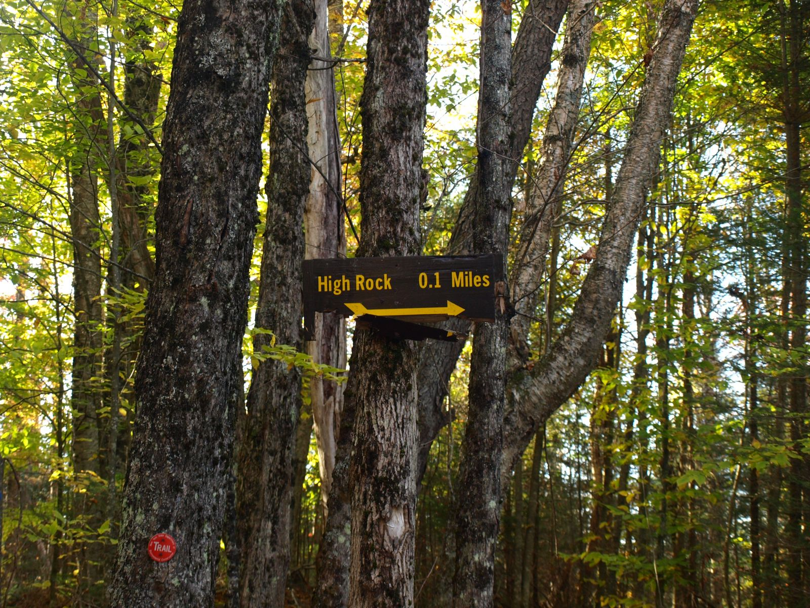 The trail sign for High Rock