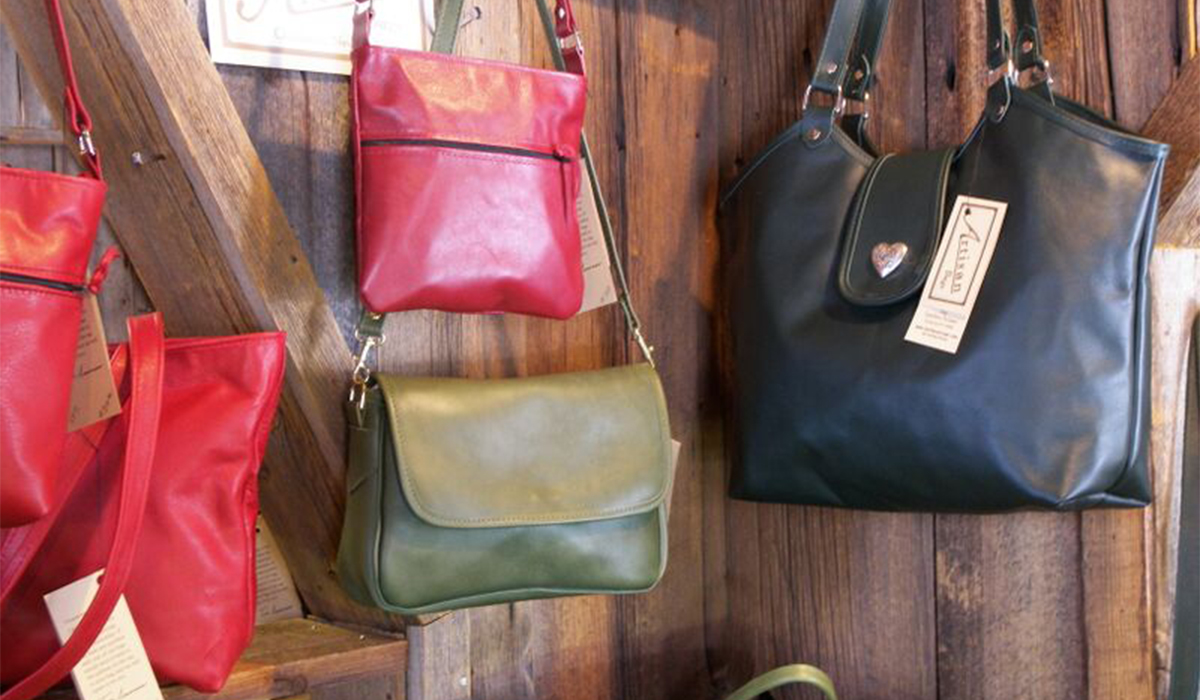 Hand crafted leather bags on display at The Leather Artisan in Childwold, NY. (photo provided)