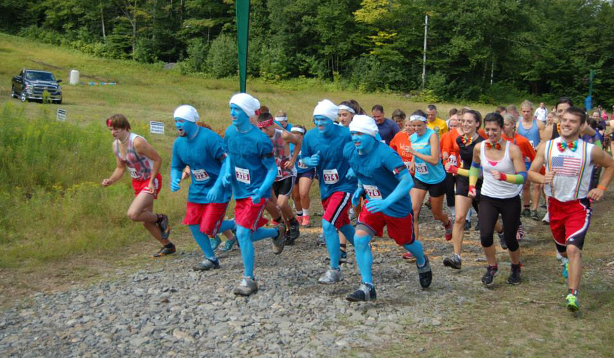 Tupper Lake Smurfs on the run.