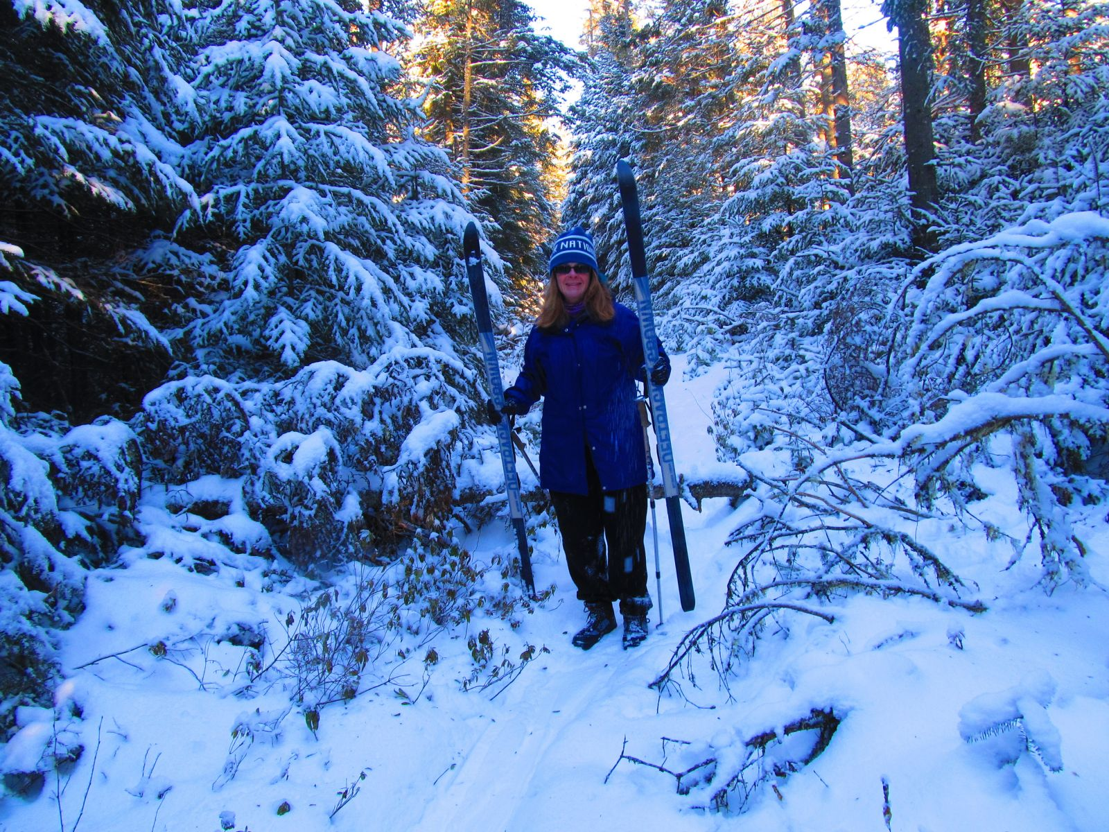 Trisa Minton removes her skis for a downed tree