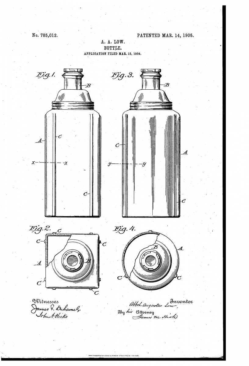 One of Abbot Augustus Low's many bottle patents