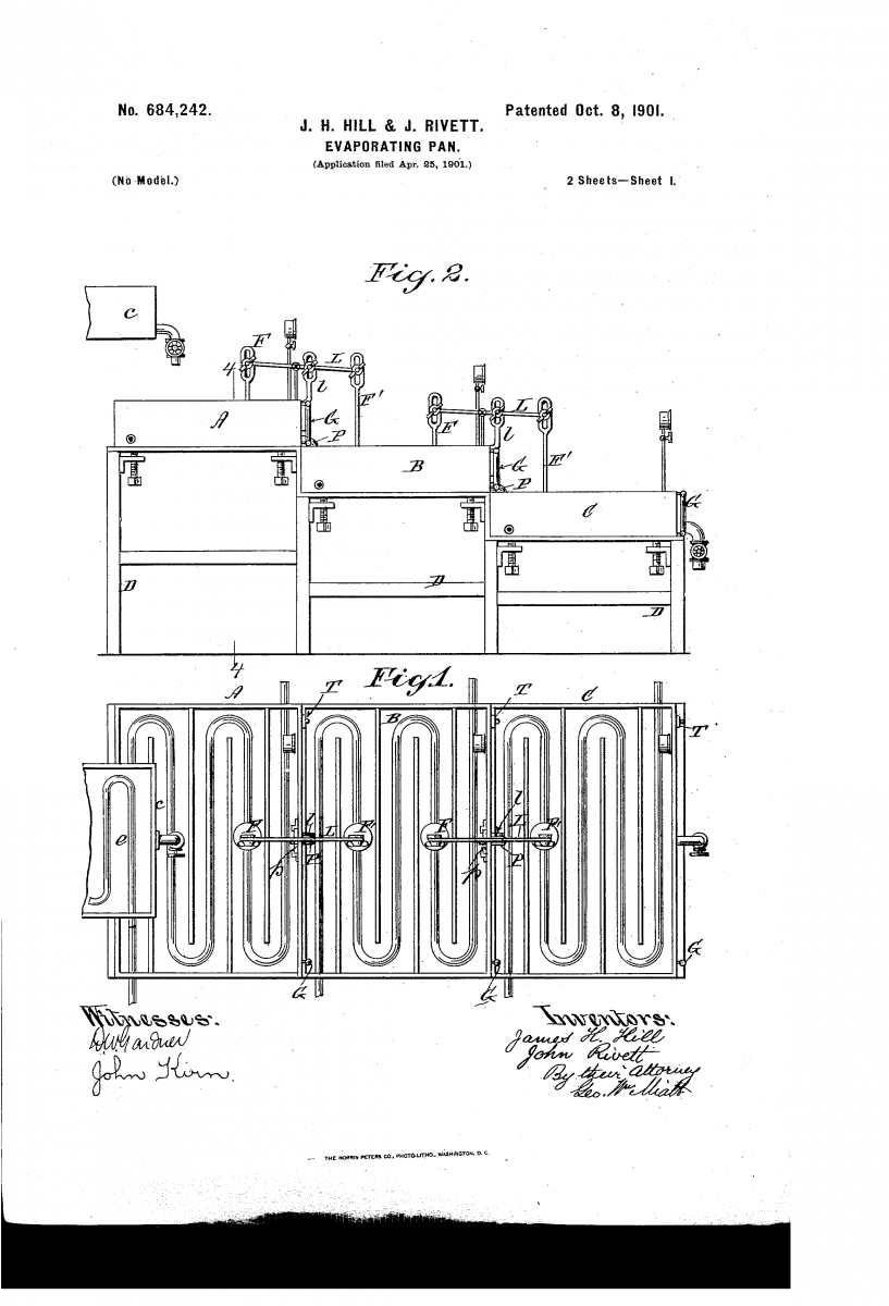 Patent No. 684,242 - The Evaporating Pan for heating maple sap.