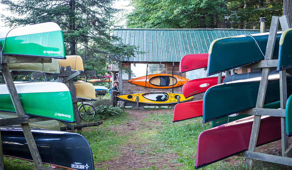 A portion of the fleet at Raquette River Outfitters in Tupper Lake