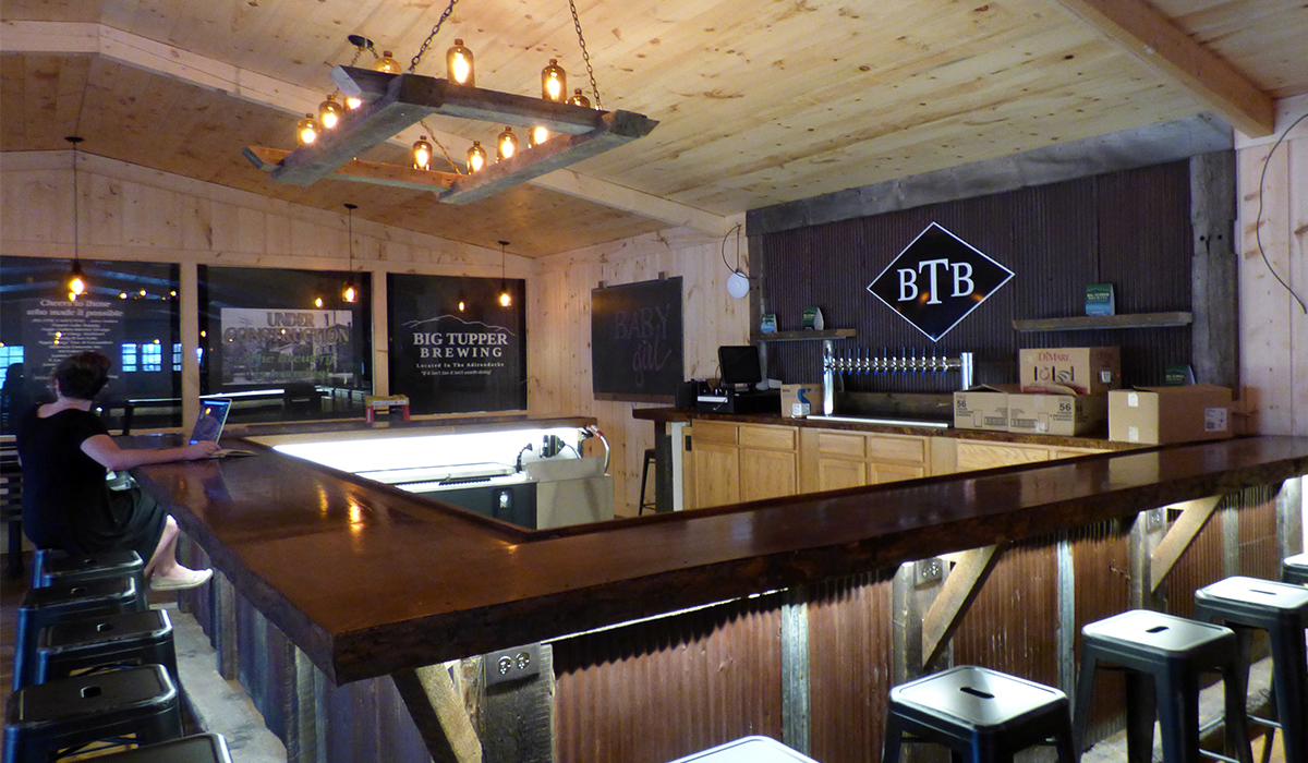 The shiny new bar at Big Tupper Brewing is gearing up for the busy weekend ahead.