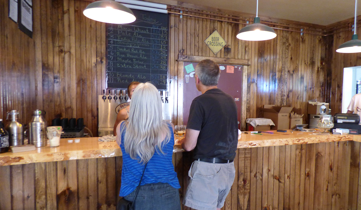 What's on tap? The menu board at Raquette River Brewing is always changing to include the latest seasonal beers.