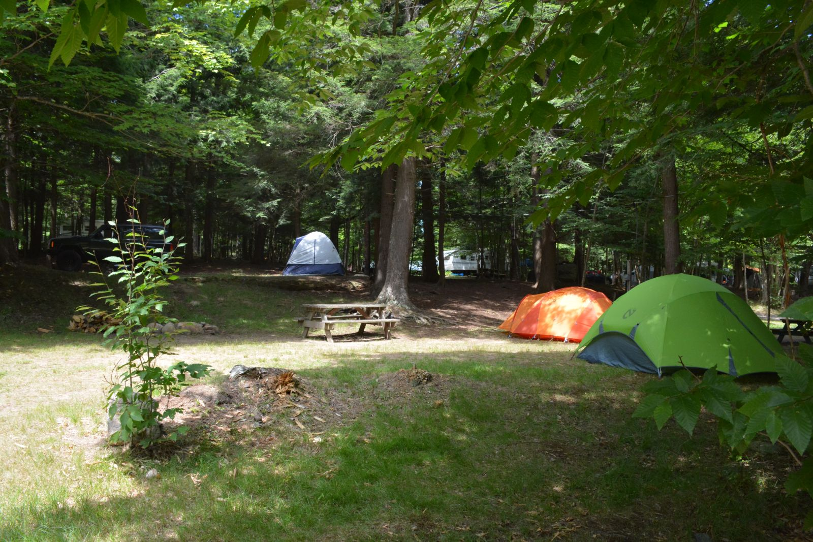Each campsite has electricity and water hook-ups as well as a fire area and picnic table.  Some sites have full hook-ups or a dumping station is available.