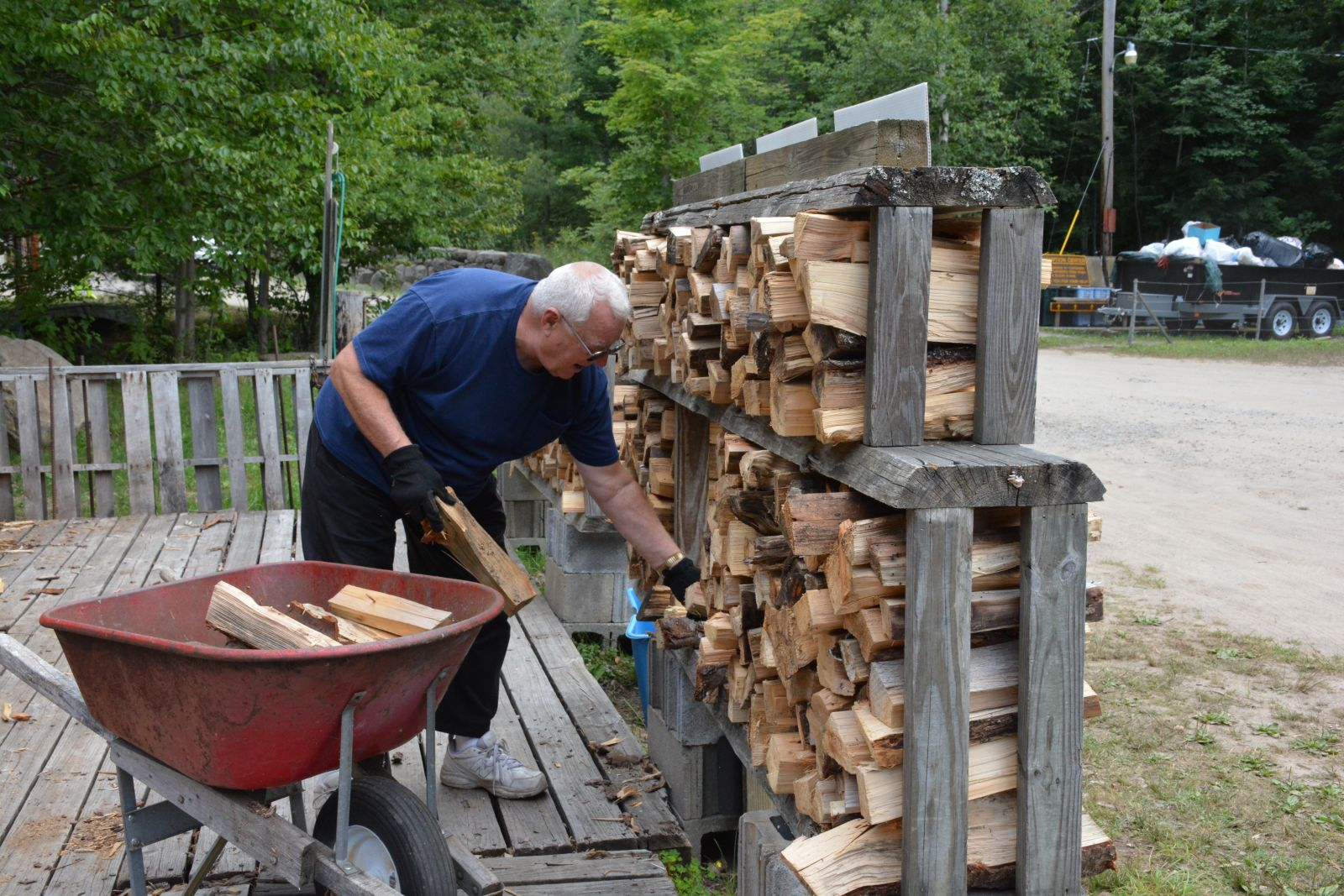 Richard Antalek of Naples, Florida has been coming to Blue Jay Campsite since 1970. He's originally from the Albany area and is a seasonal camper. He likes to help out with the firewood to keep himself busy and says he fills 10 or 12 bins of firewood a day.