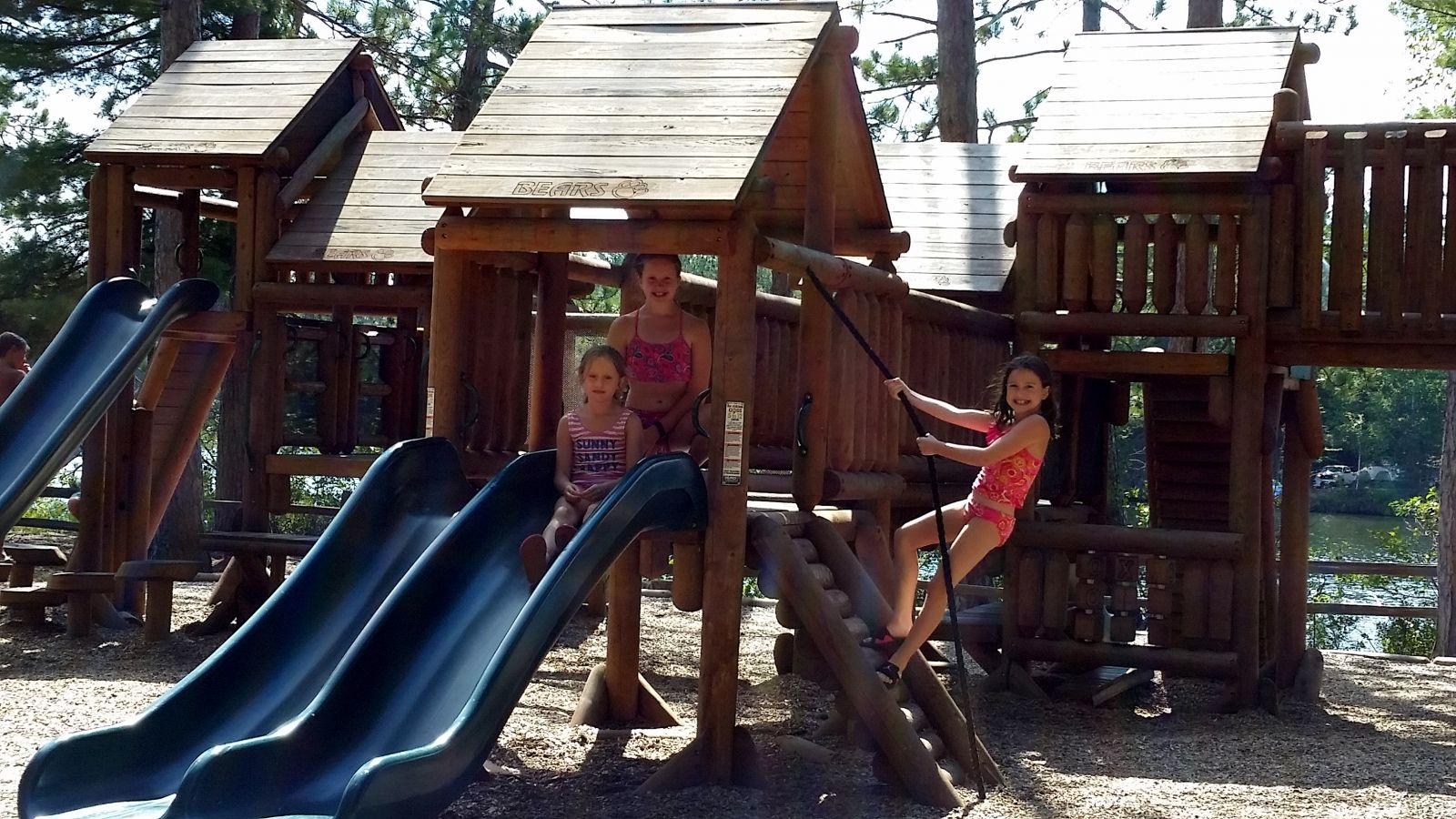 Sisters from the Albany area enjoying the Fish Creek playground