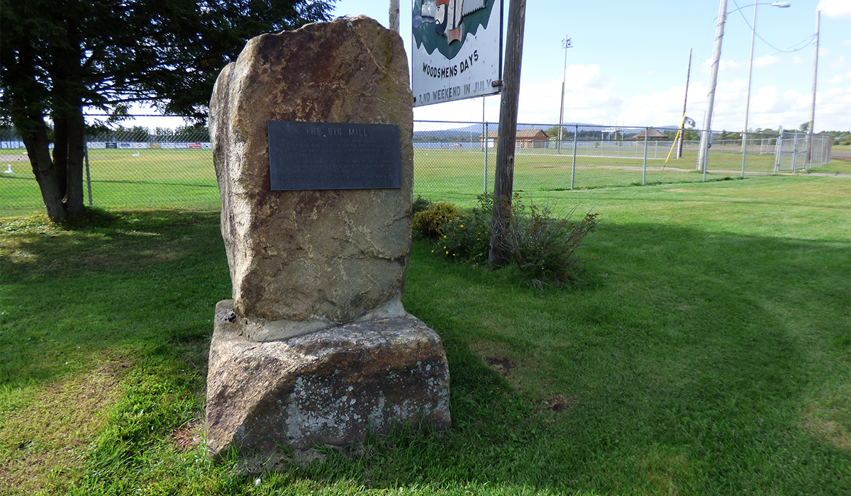 Monument in honor of The Big Mill stands in front of the softball field in the Tupper Lake Municipal Park.