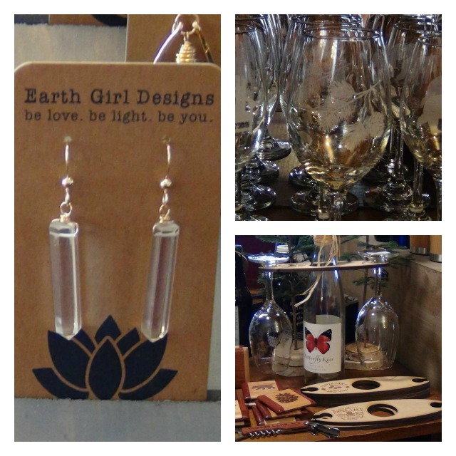 Even the items which aren't personalized have a special feel about them, as in the earrings on the left. The etched glassware can be personalized or simply show some iconic Adirondack images.