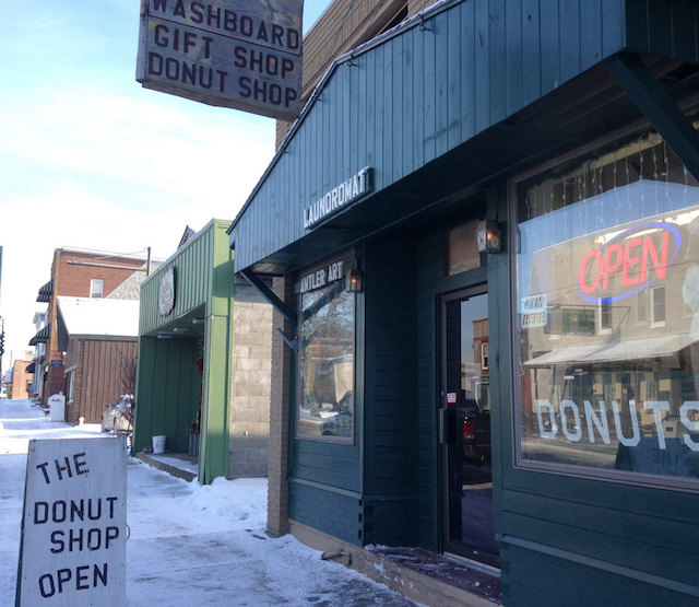 The donut Shop is also a gift shop and a laundromat on Tupper Lake's Main Street. Photo: David Sommerstein.