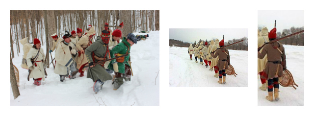 "At left, soldiers flounder in the deep snow. Middle and left, soldiers are able to walk on packed snow, but their ""raquettes"" are carried in case of need. (photos courtesy Fort Ticonderoga re-enactors)"