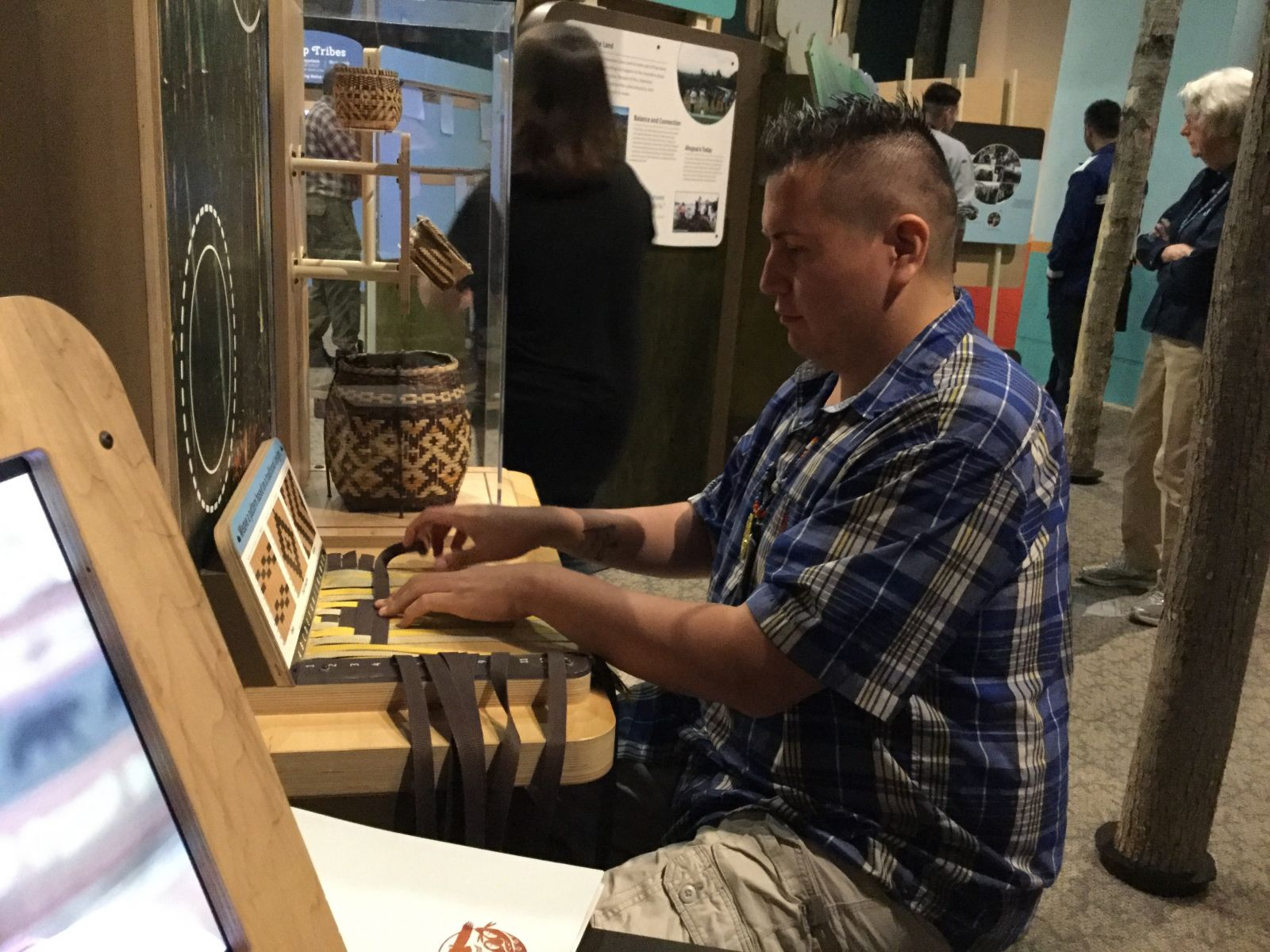 At this weaving station, follow the patterns to better understand the arts and crafts of the Mohawk.