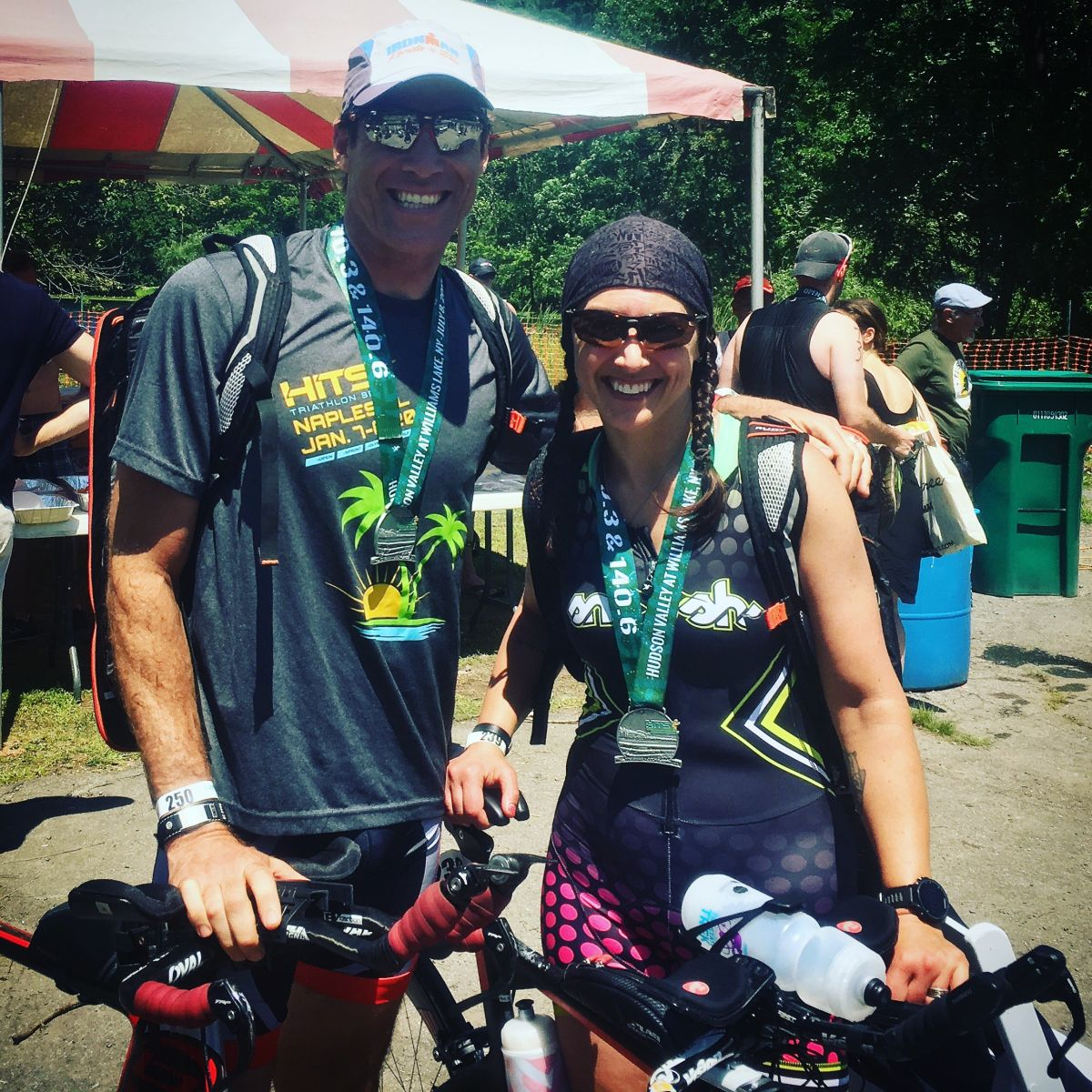 Triathlete Colleen Alexander, right, didn't let a near-fatal accident stop her from competing.
