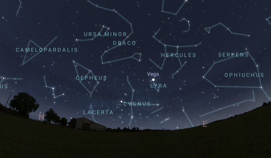 Sky chart looking northeast in Tupper Lake. Image created with Stellarium.