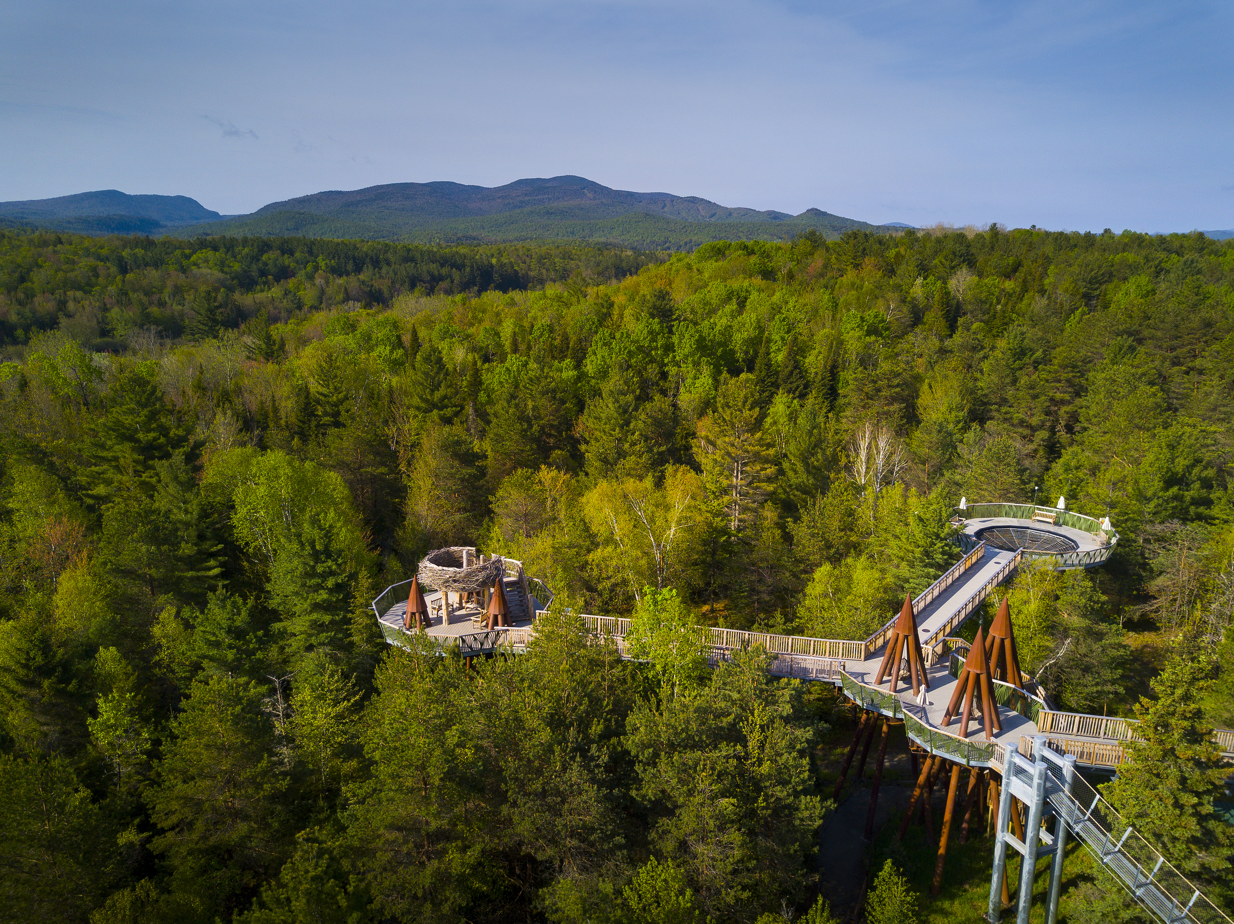 An aerial view of the Wild Walk, forest, and mountains beyond.