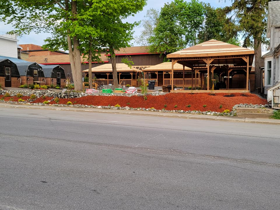 Newly built wooden pavilions at Amado