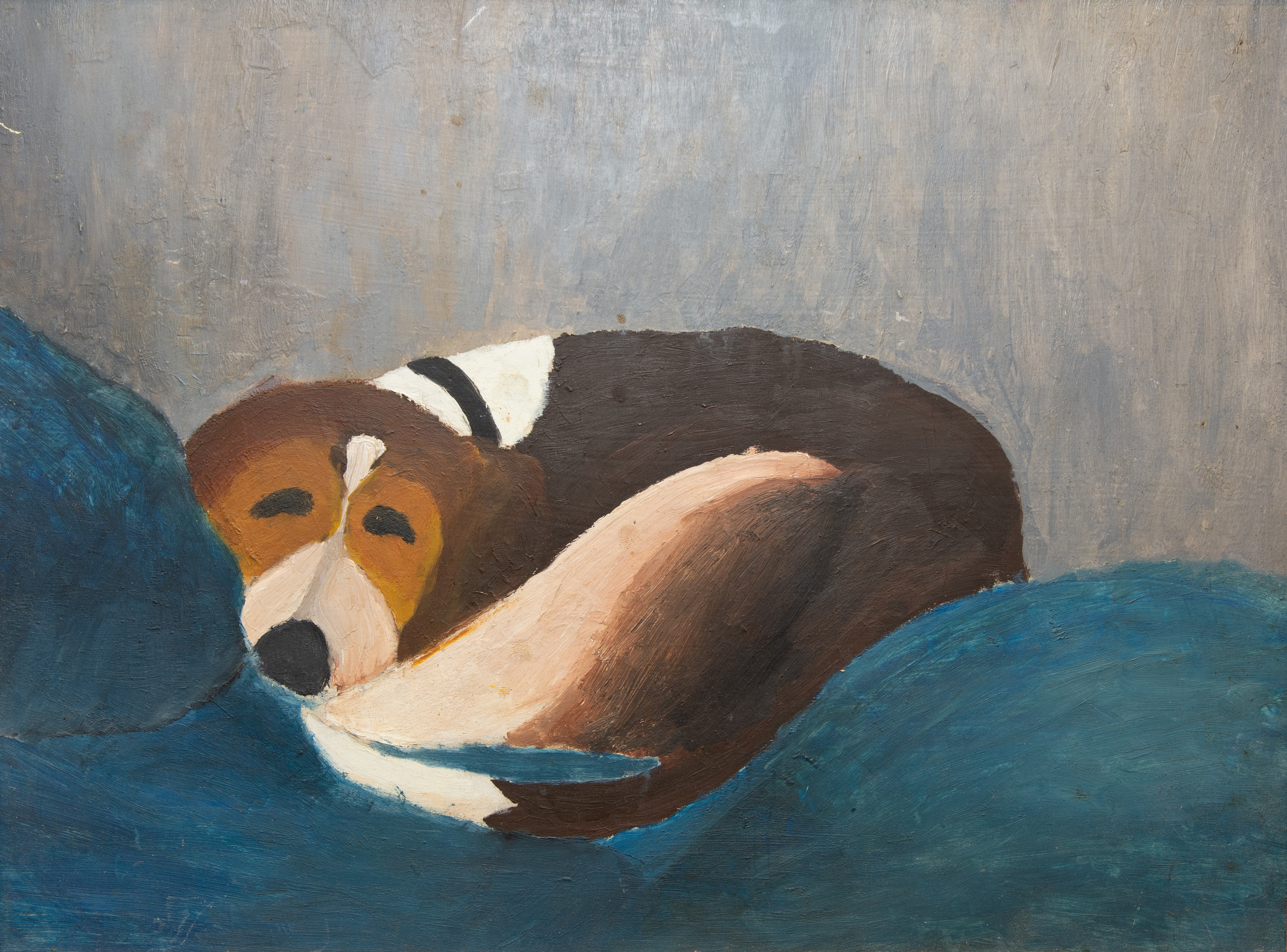 A painted portrait of Peter Hornbeck's Beagle, Flopsy, created when he was 11 years old. Image courtesy Leigh Hornbeck