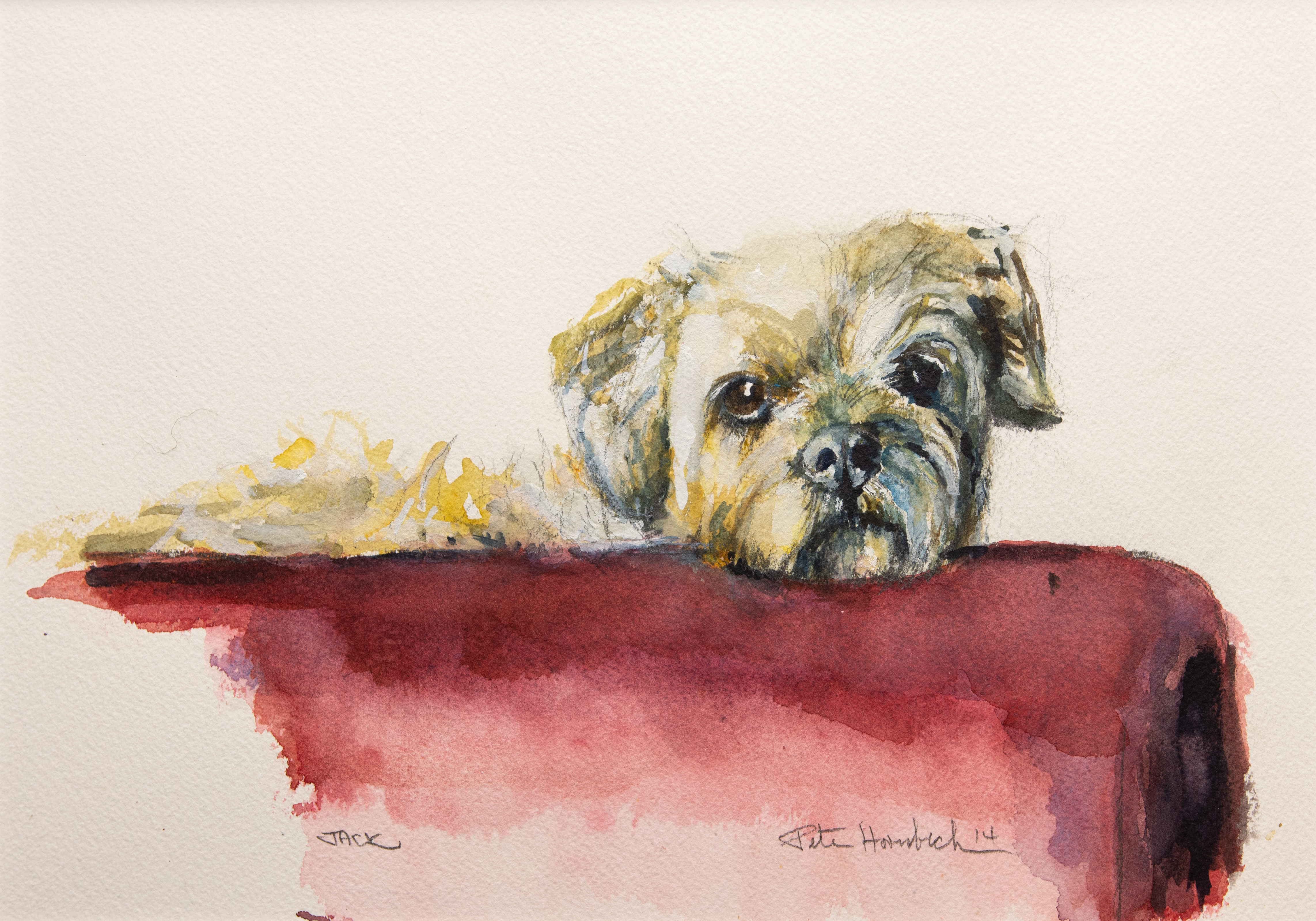 Watercolor portrait of Jack, the family's dog. Image courtesy Leigh Hornbeck